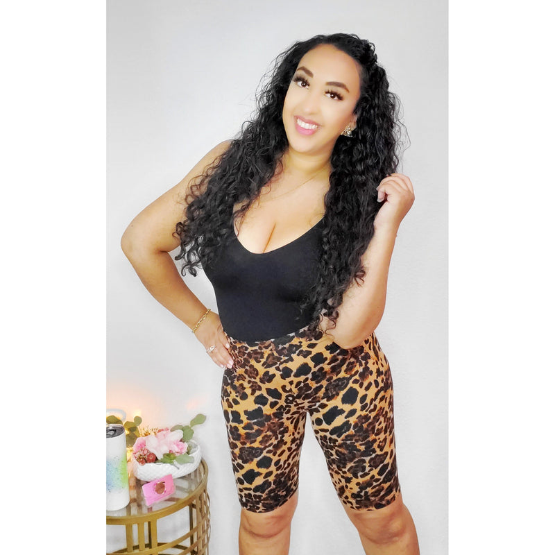 Brown Leopard Print Biker Shorts