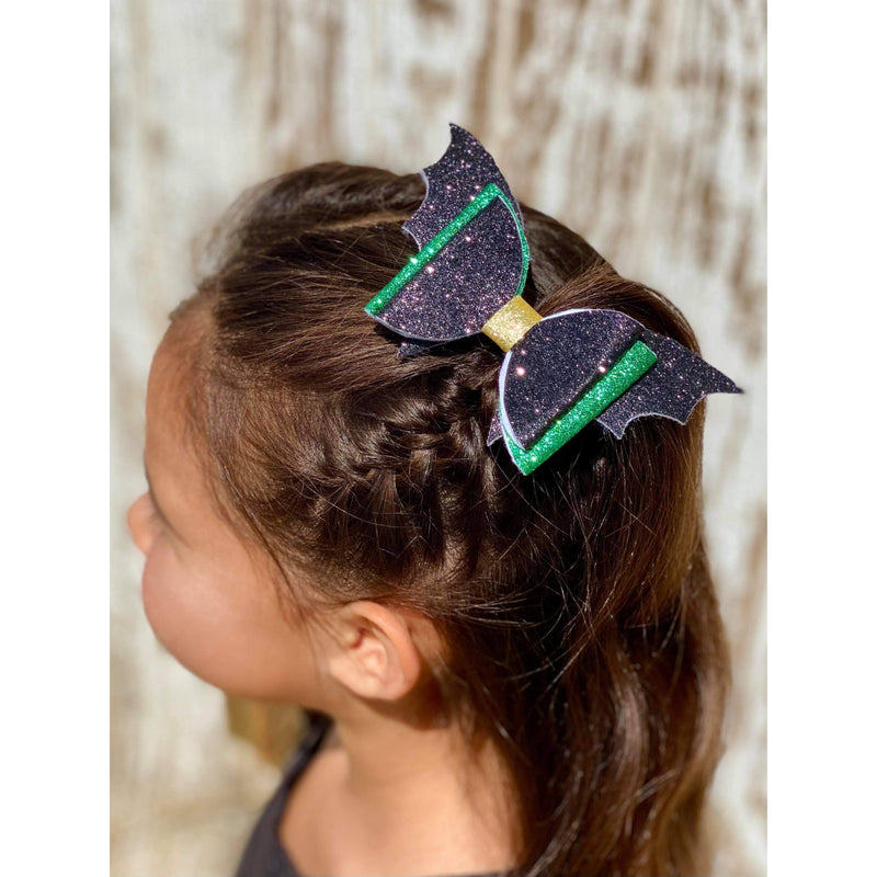 Green Bat Wings Bow
