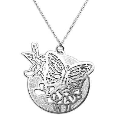 Silver Butterfly and Floral Necklace