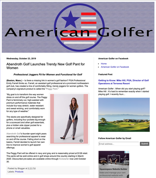 Abendroth Golf and The Peggy Pant Featured in American Golfer