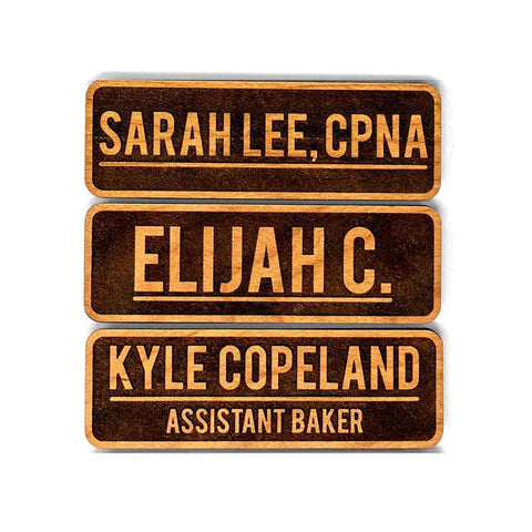 "Personalized Wood Name Tags (3"" x 1"" Rectangle, Std. Inverted Style)"