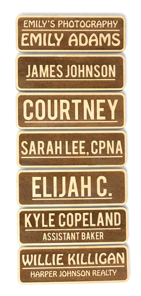 "Personalized Wood Name Tags (2.5"" x 1"" Rectangle, Std. Inverted Style)"