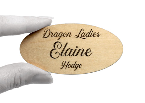 "Personalized Wood Name Tags (3"" x 1.5"" Oval) for Employees & Small Business Owners"