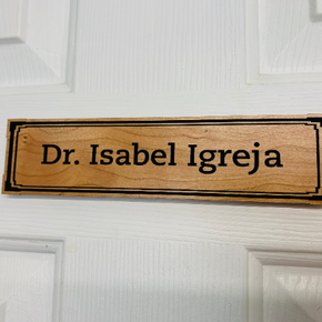 "Real Wood Office Door Name Plate with Box Border, 8"" x 2"""