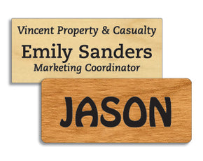 1.5 x 3.5 inches Classic Wood Name Tag