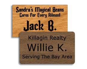 1.75 x 3 inches Classic Wood Name Tag (Style A)