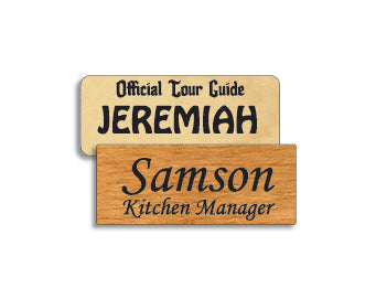 1 x 2.5 inches Classic Wood Name Tag