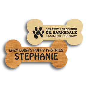 Bone Shape Wood Name Tag