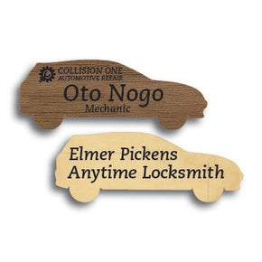 Car Shape Wood Name Tag