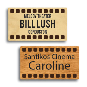 Cinema Reel Shape Wood Name Tag