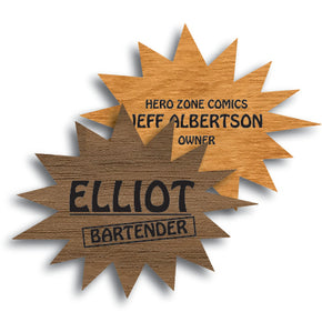 Comic Pow Shape Wood Name Tag