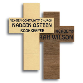 Cross Shape Wood Name Tag