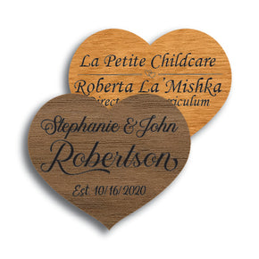 Heart Shape Wood Name Tag