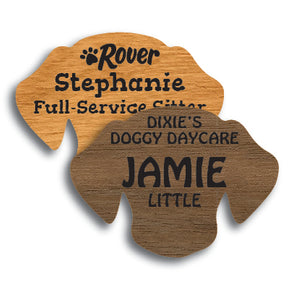 Dog Shape Wood Name Tag