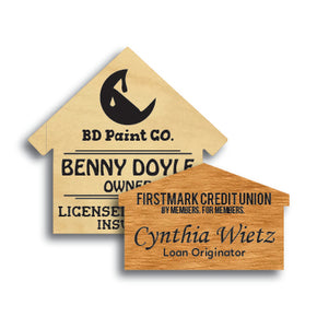 House Shape Wood Name Tag