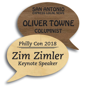 Speech Bubble Shape Wood Name Tag