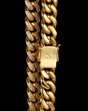 12mm Gold Diamond Cuban Link Choker
