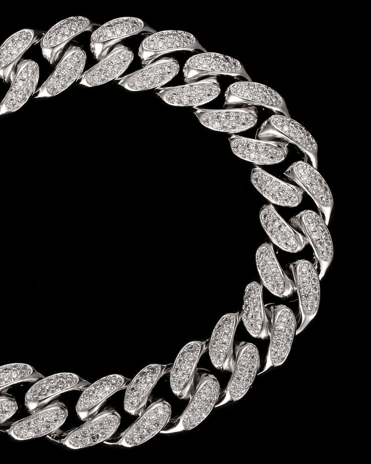 12mm Diamond Cuban Link Choker in White Gold