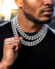 19mm white gold iced out diamond cuban link choker chain