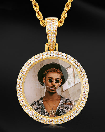 Custom INFMUS 2-Row Diamond Photo Pendant
