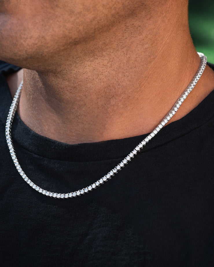 3mm Round Cut Tennis Chain in White Gold