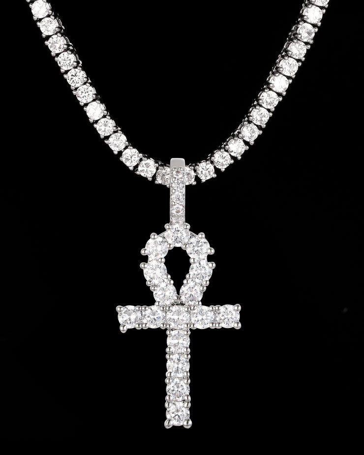 White Gold Ankh Cross & 3mm Tennis Chain Set