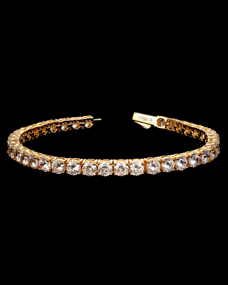 5mm Round Cut Tennis Bracelet in Gold