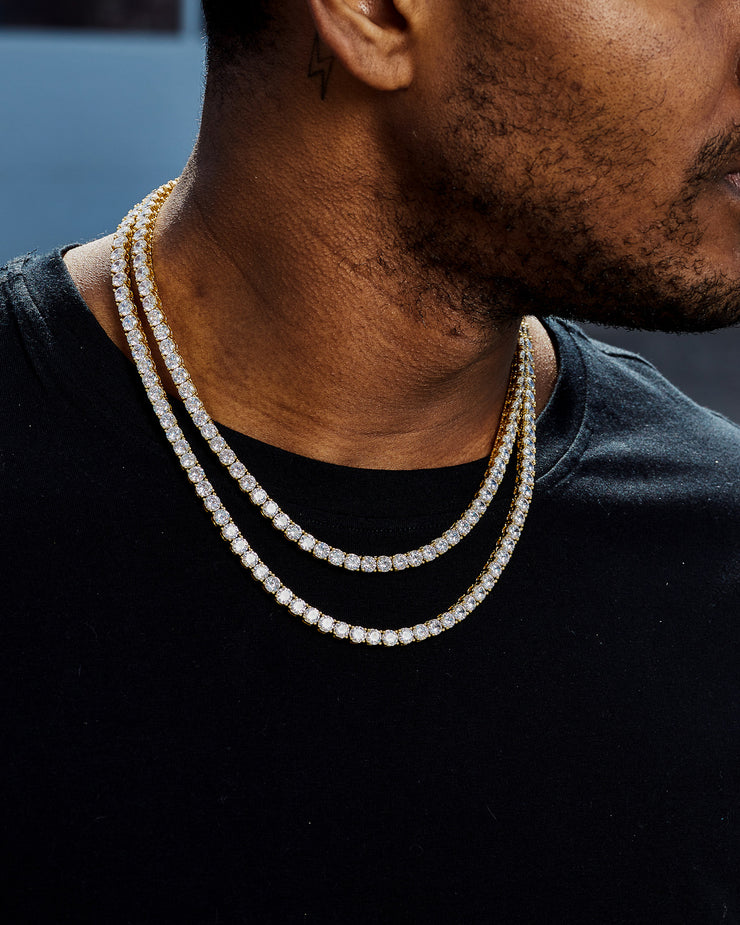 5mm gold iced out diamond tennis chain necklace