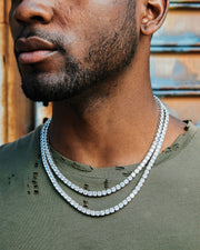 5mm white gold iced out diamond tennis chain choker set
