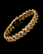 12mm Gold Diamond Cuban Bracelet