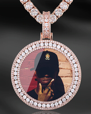 Custom INFMUS 3-Row Diamond Photo Pendant