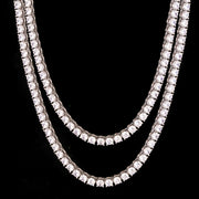 5mm Round Cut Tennis Chain in White Gold