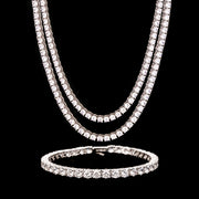 5mm Round Cut Tennis Chains & Bracelet Set in White Gold