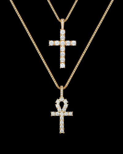 Diamond Ankh & Cross Set