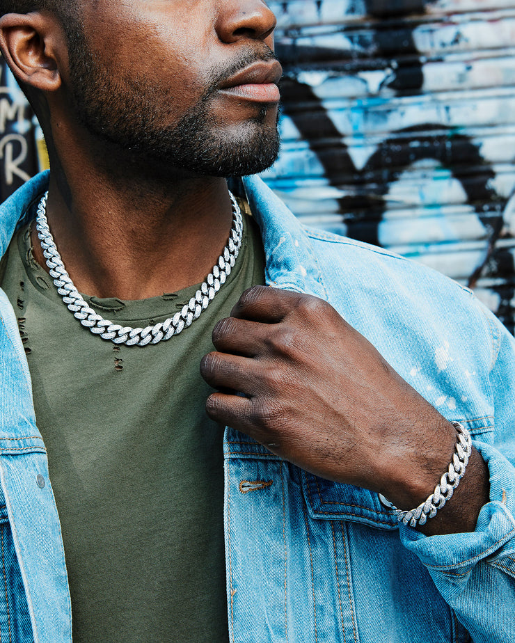 12mm white gold iced out cuban link choker chain and 12mm cuban link bracelet