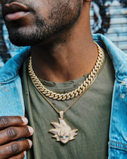 12mm gold iced out cuban link choker and goku pendant