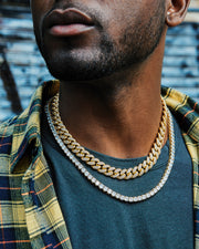 gold iced out cuban link choker chain and tennis chain set