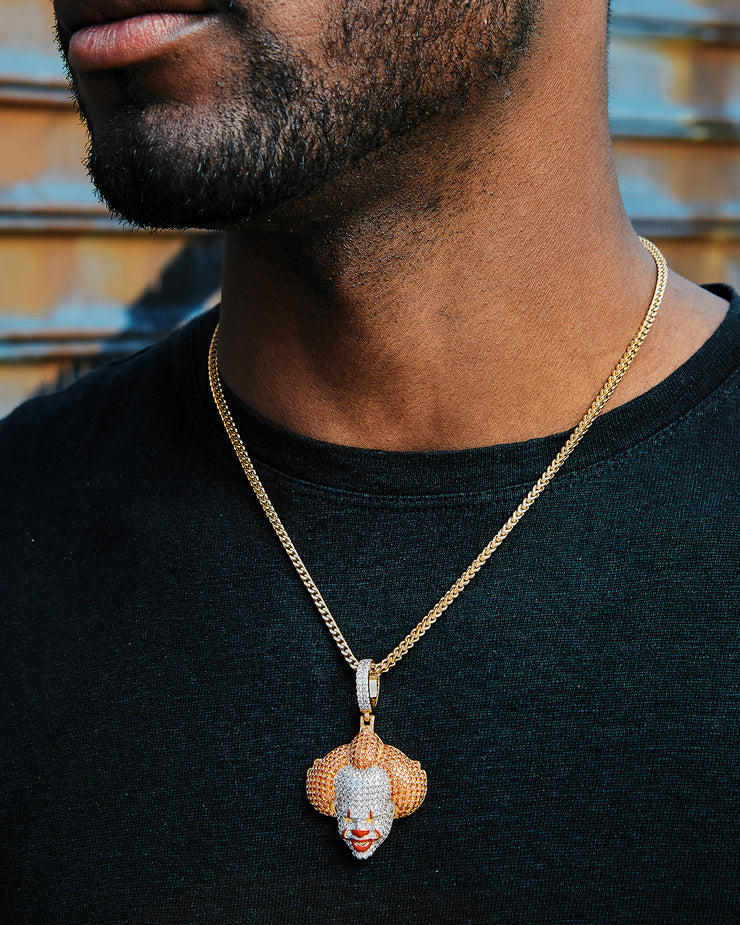 Gold Diamond Pennywise Pendant Chain Necklace