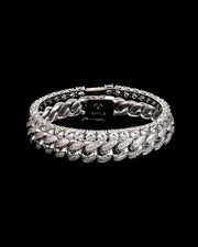 12mm Cuban & 5mm Tennis Bracelet Set in White Gold