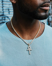 gold 3mm diamond tennis chain with ankh pendant