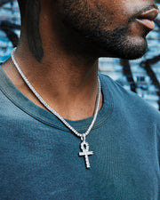 white gold 3mm diamond tennis chain with ankh pendant