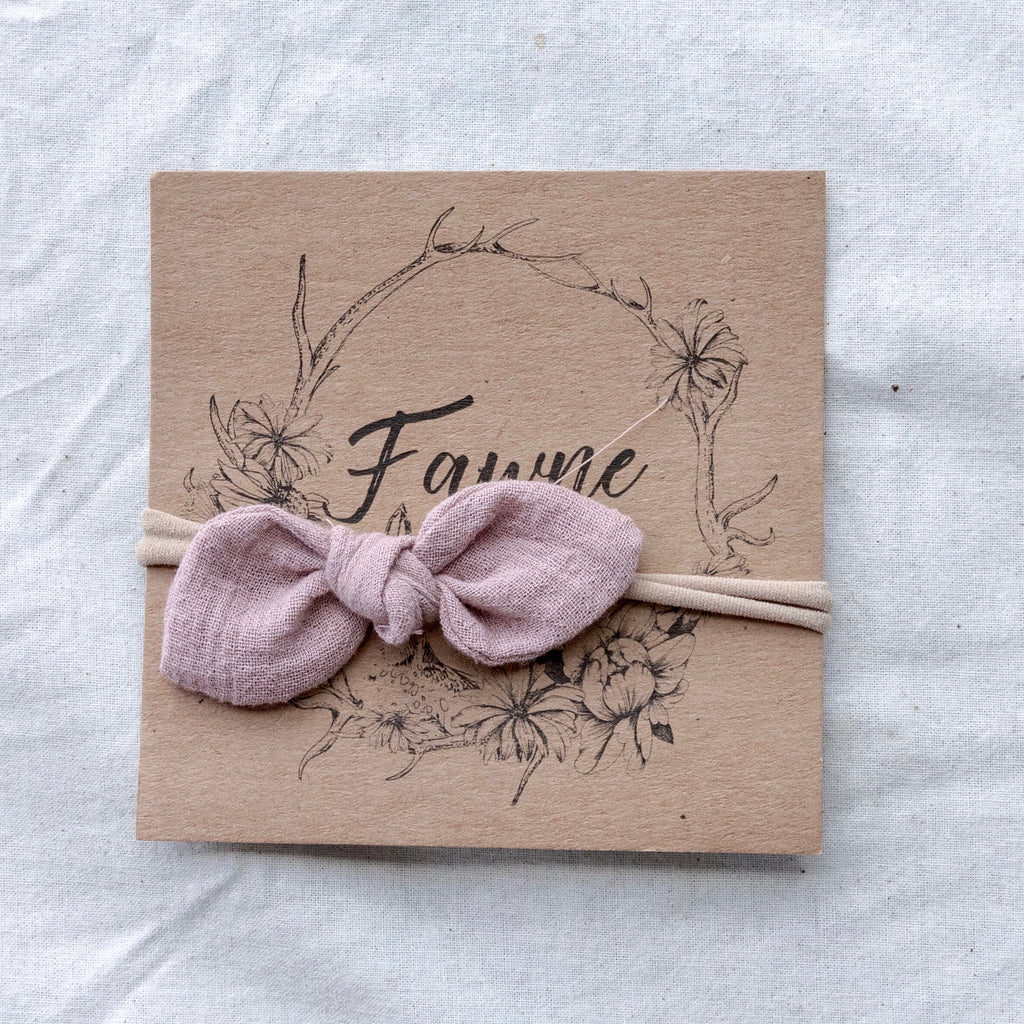 Skinny Bow Headband- Dusty Rose
