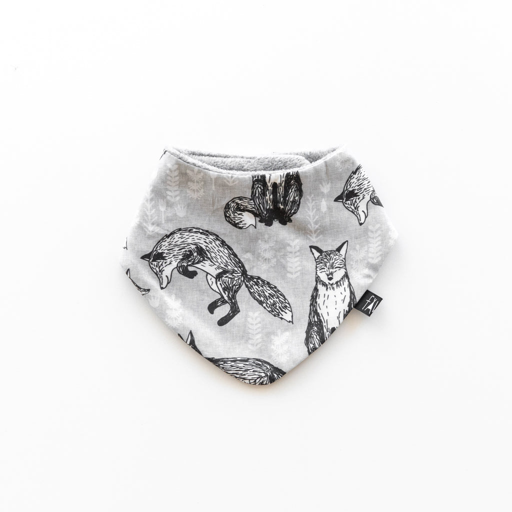 Bib - Fox Print Grey Marle