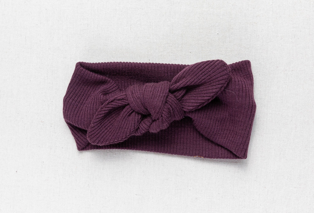 Merino Topknot Bow - Berry Rib