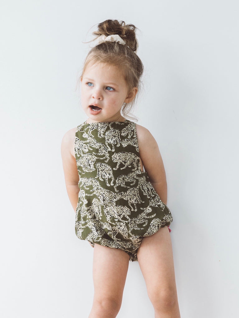 Cheetah Bow Back Playsuit- Olive/Cream