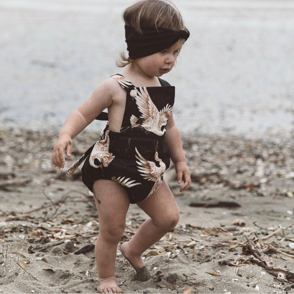 Bow Back Playsuit - Black Crane
