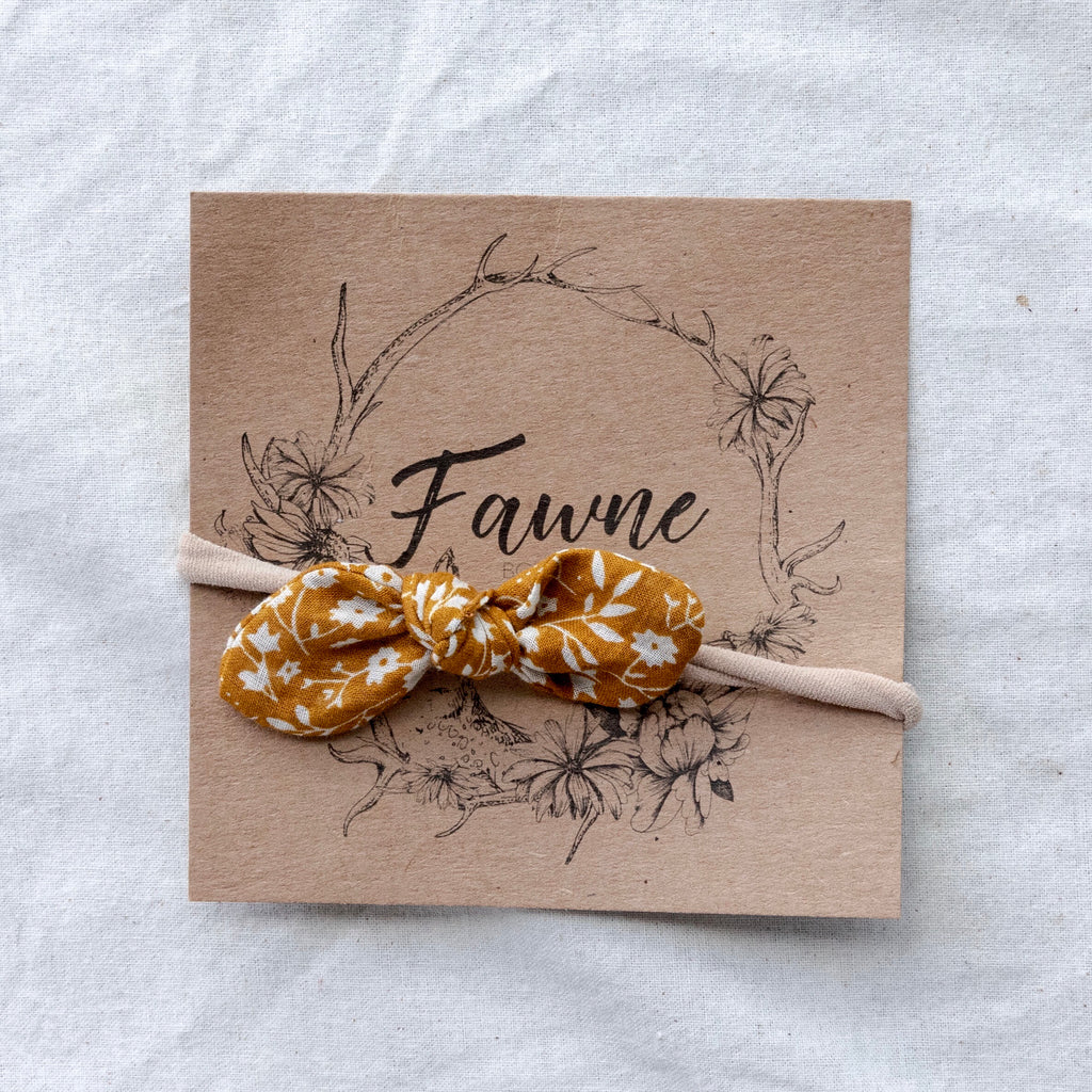 Skinny Bow Headband - Rusty Gold Floral