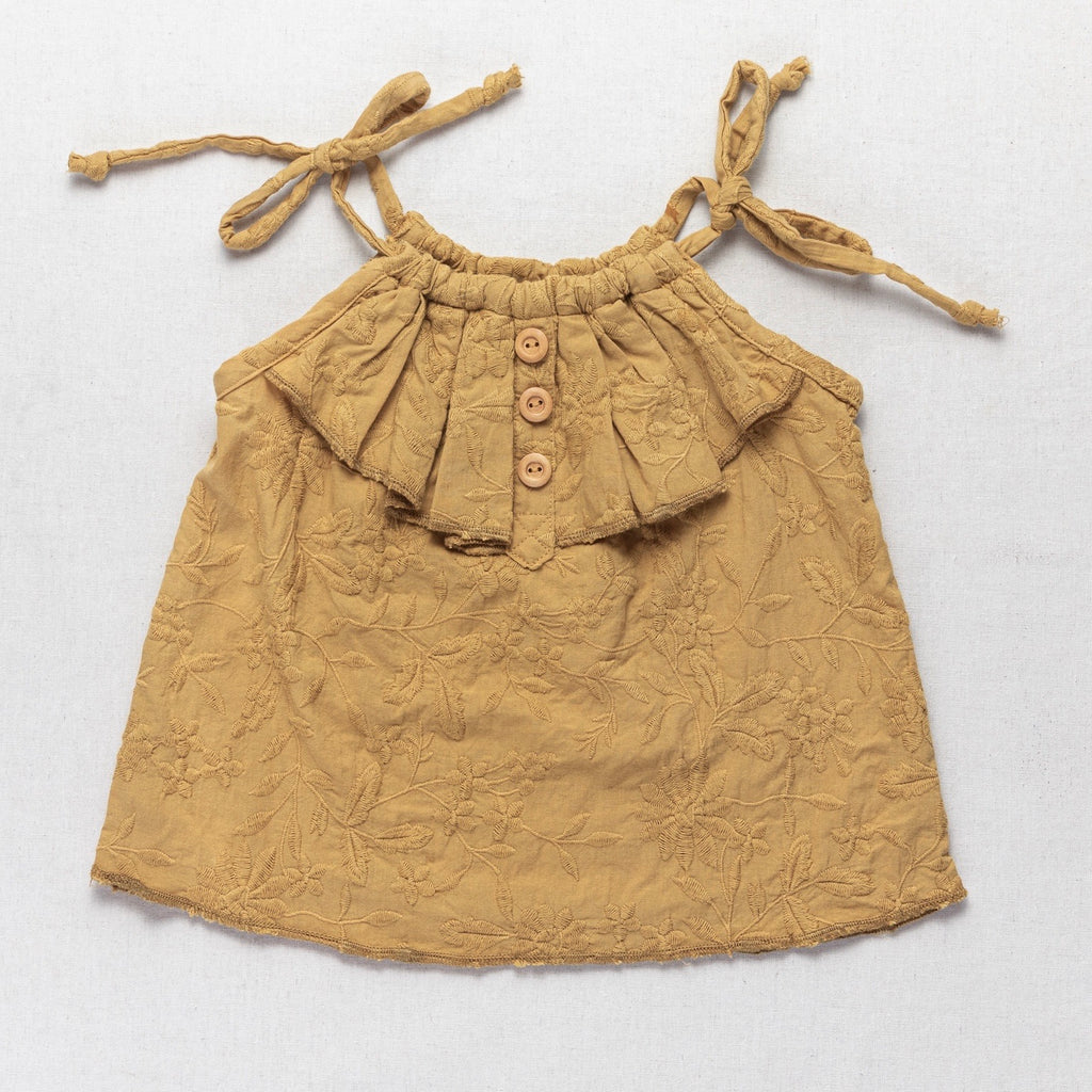 Drawstring Frill Top - Embroidered Mustard