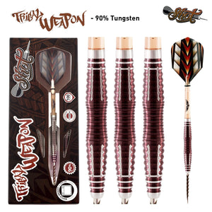 Tribal Weapon 3 Series Steel Tip Dart Set-90% Tungsten Barrels - shot-darts
