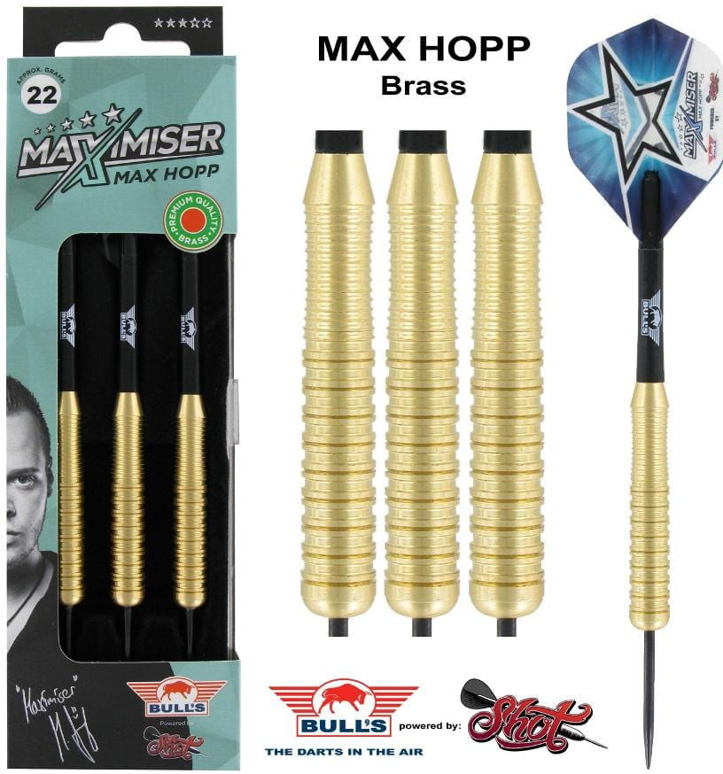 Max Hopp Steel Tip Dart Set-Brass - shot-darts